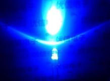 Светодиод ярко-синий 3мм, напряжение 3.1-3. 6В, ток 5-17.5 мА