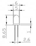 Светодиод ярко-красный 5мм, 3.4В, 4 мА-15 мА (прозрачный корпус)
