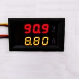 Сдвоенный вольтметр/амперметр (0-100В/0-9.99А) (красный + желтый цвет, встроенный шунт, 3 разряда)