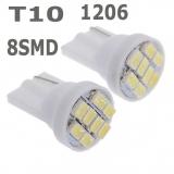 Светодиодная лампа для автомобиля цоколь T10, 12В, 8 SMD светодиодов 1206/3020