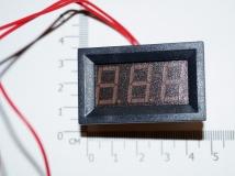 Электронный встраиваемый вольтметр 30В-500В (красный, переменное напряжение)