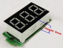 Бескорпусной электронный встраиваемый вольтметр 0-200В (красный)