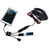 USB OTG концентратор с двумя портами USB:  microUSB (папа) - 2 USB2.0 с дополнительным питанием microUSB (мама)