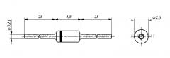 Стабилитрон 1N4728A, 3.3В, 5%, 1Вт, DO-41
