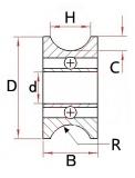 Подшипник U624ZZ 4 * 13 * 7 мм ( U образный паз по внешнему диаметру для шкива)