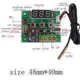 Цифровой безкорпусной 12В регулятор температуры с термопарой, -50 ~ +110°C, 12В, ток управления 10A, красный дисплей, W1209
