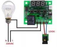Цифровой бескорпусной 12В регулятор температуры с термопарой, -50 ~ +110°C, 12В, ток управления 10A, красный дисплей, W1209