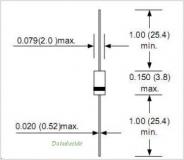 BZX55C16, Стабилитрон 16В, 5%, 0.5Вт, DO-35