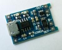 Зарядное устройство для литиевых и литиево-полимерных батарей TP4056 1A, с модулем защиты аккумулятора, напряжение полной зарядки 4.2В, вход Micro USB 4.5 - 5.5В