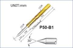 Пружинный контакт-зонд P50-B1, (16.55мм, диаметр 0.68мм, давление пружины 75г)
