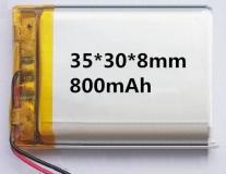 Литий-полимерный аккумулятор 3,7В  083035 803035 800mah (устройства: Bluetooth, MP3, MP4 )