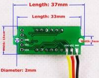Бескорпусной электронный встраиваемый вольтметр 0В-33В (красный, 4 разряда) 0.36