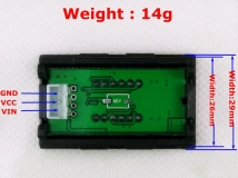 Электронный встраиваемый вольтметр 0В-33В (красный, 4 разряда) 0.36