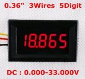 Электронный встраиваемый вольтметр 0В-33В (красный, 5 разрядов) 0.36