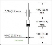 BZX55C22, Стабилитрон 22В, 5%, 0.5Вт, DO-35