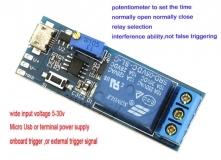 Таймер задержки включения или выключения 0-24сек, питание 5-30В, коммутация 250В 10A AC