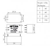 HLK-PM01 AC/DC  220В - 5В,  конвертер изолированный, 5В  0.6A, Hi-Link