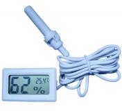 Цифровой LCD гигрометр - термометр 10%RH ~ 99%RH, -50°C + 70°С (белый, внешний датчик)