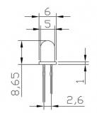 Светодиод желтый 5мм (1.8-2.2В, 5mA-20mA)