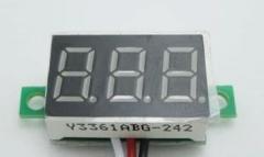 Бескорпусной электронный встраиваемый вольтметр 0-30В (зеленый, 3 разряда) 0,28