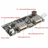 Модуль для Power Bank зарядное устройство с двойным USB 5 В 1A 2.1A для 1-6 шт аккумуляторов 18650 с ЖК-экраном