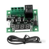 Цифровой безкорпусной 12В регулятор температуры с термопарой, -50 ~ +110°C, 12В, ток управления 10A, синий  дисплей, W1209