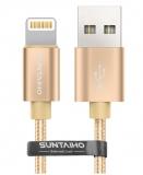 Кабель USB Lightning 8pin для Apple iPhone X, XS, XR, 8, 7, 6, 5, iPad mini, iPad 4, iPod touch 5, длина 2м, C48 Chip, SUNTAIHO, цвет золотой