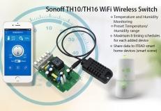 Дистанционное управление нагрузкой до 16А, измерение температуры, влажность, Wi-Fi  реле, одноканальное Sonoff TH16 для управления любым электроприбором, розеткой или выключателем со смартфона через Интернет. (Android, IOS)
