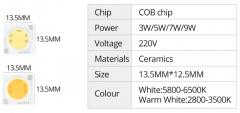 Сверхяркий светодиод 5W белый теплый цвет (2800-3500K, 500 lm, 220-240В AC) 13.5*13.5мм