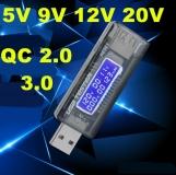Электронный портативный USB-тестер с LCD-экраном и поддержкой QC2.0 и QC3.0 (напряжение 3.7-20 В, ток 0-3.3 А, время, емкость)
