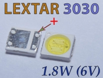 Светодиод SMD 3030 6V Lextar PT30W45 V1 ультра яркий белый цвет  6В 350мА