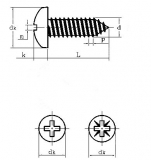 Саморез М1.4x8 мм с полукруглой головкой, черный (упаковка 5 шт)