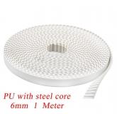 Лента зубчатая GT2-6mm для 3D-принтеров со стальным сердечником, белая, 1 метр