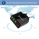 Адаптер питания - зарядное устройство AC 100-240В - DC 5В 3А три порта USB с вольтметром и амперметром (для зарядки планшетов и смартфонов)