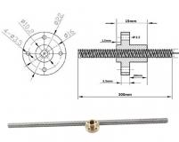 Приводной трапециевидный вал THSL-300-8D для шагового двигателя, 3D принтера, 300мм