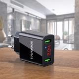 Адаптер питания - зарядное устройство AC 100-240В - DC 5В 2,2А два порта USB с вольтметром и амперметром (для зарядки планшетов и смартфонов)