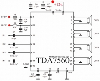 Усилитель TDA7560 УНЧ 4х45Вт QUAD BRIDGE PLUS HSD