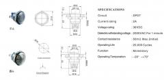 Кнопка стальная стартовая влагозащищенная 16мм 2 контакта 3A/250VAC защита IP67/IK08 High round