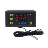 Цифровой контроллер температуры с термопарой, W3230, -50°С ~ +120°C, 110-220В, ток управления 20A, красный + синий дисплей