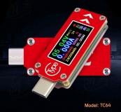 Электронный портативный USB Type-C тестер TC64 с полноцветным ЖК дисплеем (напряжение, ток, мощность, емкость, температура)