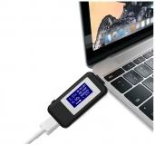 Электронный двухсторонний USB Type-C тестер с графическим дисплеем, поддержкой QC2.0 и QC3.0 (напряжение 4-30 В, ток 0-5.1 А, мощность, время, емкость, температура)