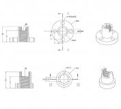 Приводная втулка для трапециевидного вала диаметром 8мм, с пружиной, шаг 8мм (четырехзаходная)