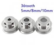 Шкив (ролик) 36-GT2-6 BF алюминиевый для GT2-ленты шириной 6мм, 36 зубьев, на вал 5мм