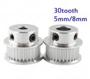 Шкив (ролик) 30-GT2-6 BF алюминиевый для GT2-ленты шириной 6мм, 30 зубьев, на вал 8мм