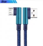 Кабель micro USB - USB 1м угловой, ток 2А, повышенная прочность, отделка джинсовая ткань
