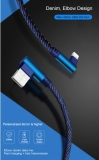 Кабель USB Lightning 8pin 1м угловой, ток 2А, повышенная прочность, отделка джинсовая ткань