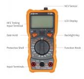 Мультиметр RICHMETERS RM113A с измерением HFE, напряжения, тока, сопротивления, NCV-сенсором, фонариком и магнитным креплением