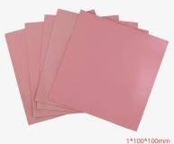 Теплопроводящяя подложка 100x100x1 мм силиконовая мягкая розовая (термопрокладка)