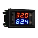 Цифровой встраиваемый 12В регулятор температуры с термопарой, -50 ~ +110°C, 12В, ток управления 10A, двойной дисплей, W1209WK