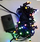 Новогодняя гирлянда светодиодная линейная LED-140 (70 светодиодов 5мм матовый мультицвет 8 режимов), длина 6 метров, тёмный провод, 220В